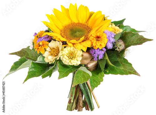 Foto op Canvas Madeliefjes Blumenstrauß mit Zinnien und Sonnenblume
