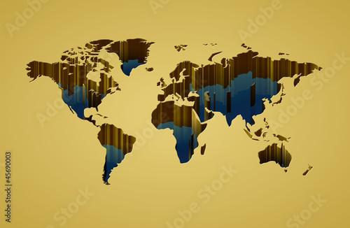 Staande foto Wereldkaart World map with 3d-effect