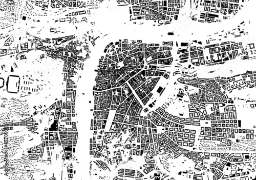 Prague black white city plan - street texture