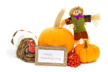 Happy Thanksgiving Card With Autumn Themed Decor Over White