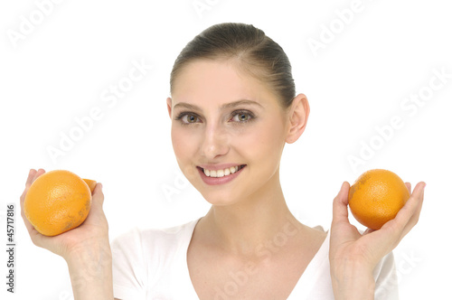 Fotografija  portrait of beautiful young woman with fruits - isolated
