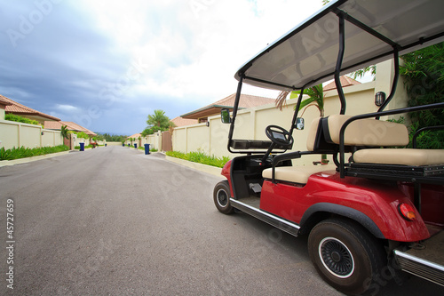 Golf carts in the village.