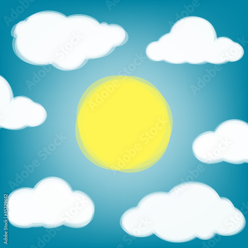 Poster Ciel Sky background with transparent clouds and sun.