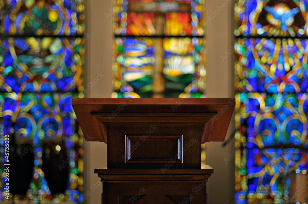 Fototapeta Church Pulpit with Stained Glass
