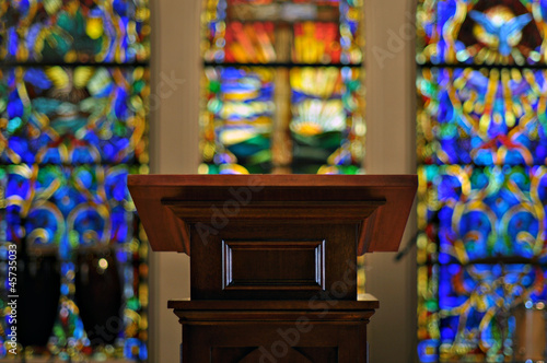 Obraz Church Pulpit with Stained Glass - fototapety do salonu