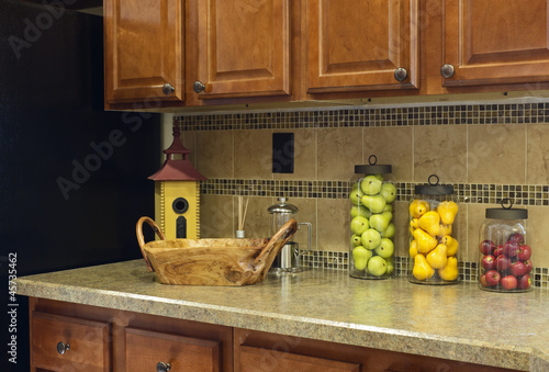 Colorful fruit jar decor on a home kitchen counter - Buy ...