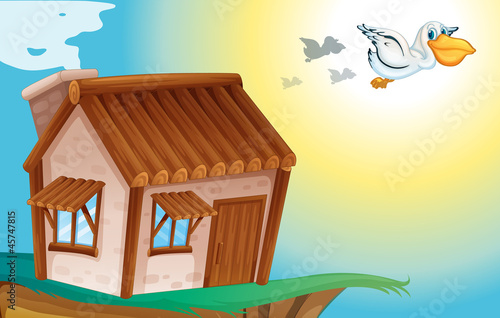 Fotobehang Indiërs wooden house and birds