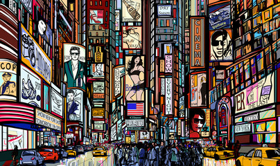 Panel Szklany Nowy York street in New York city