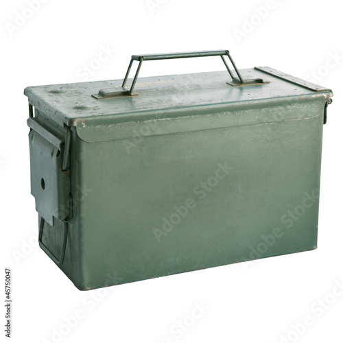 Photo  military green metal bullet box isolated on white background