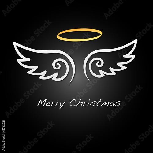 Foto  Merry Christmas - Hintergrund - Flügel - Weiß/Schwarz