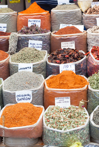 Canvas Prints Condiments Spices and Herbs in Market