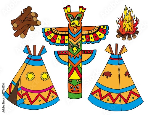 Deurstickers Indiërs Indians tepees collection