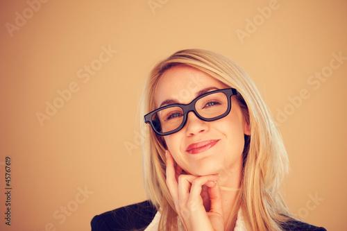 Fényképezés  Businesswoman beaming with pleasure
