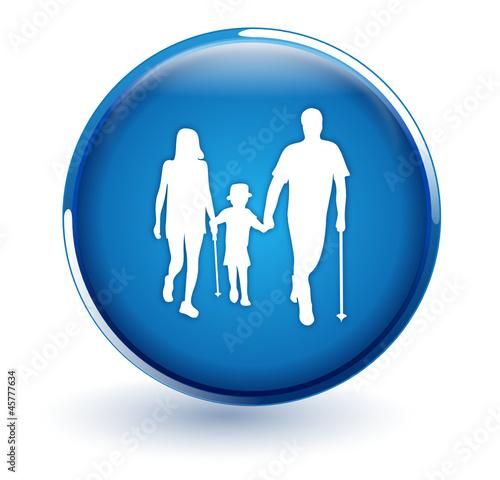 famille sur bouton bleu