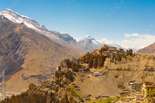 Photo  Mountain Old Dhankar Cliff Monastery Spiti Valley