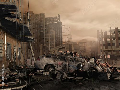 Zniszczone miasto - fototapety na wymiar