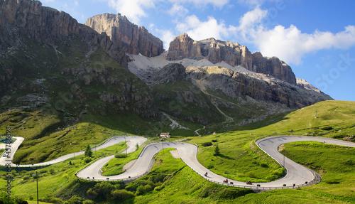 Obraz na plátně Dolomites  landscape with mountain road.