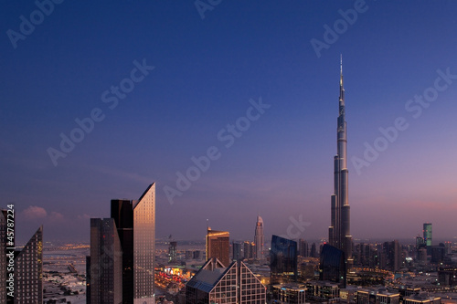 Fotografie, Obraz  A skyline view of Downtown Dubai, showing the Burj Khalifa