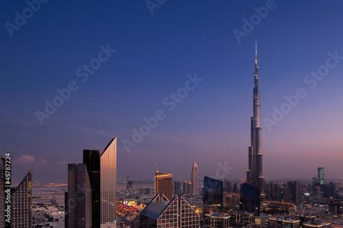 Fototapeta  A skyline view of Downtown Dubai, showing the Burj Khalifa