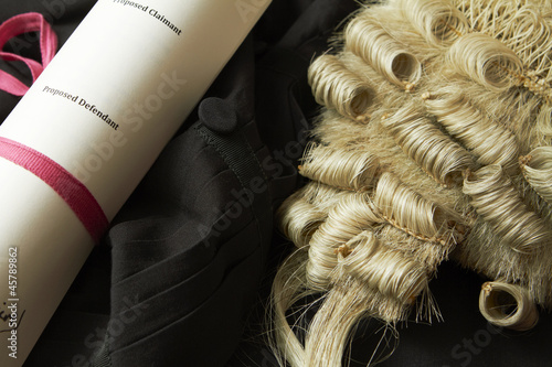 Legal Still Life Of Barrister's Wig, Gown And Brief Canvas Print