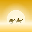 Two Camels and Sun