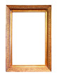 old antique gold frame. Isolated over white background