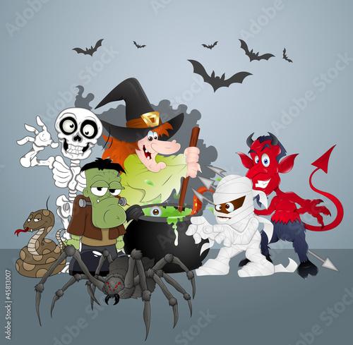 Foto op Canvas Schepselen Halloween Monsters Party Celebration