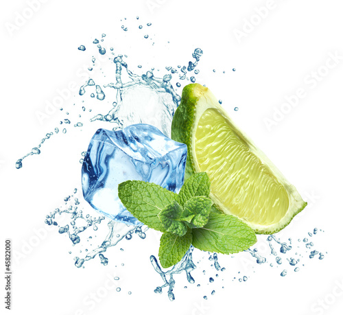 Fotobehang Opspattend water Ice cubes, mint leaves, water splash and lime on a white