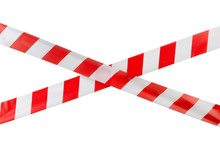 Crossed Red White Warning Tape