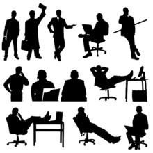 Homme Travaillant Et Se Reposant Au Bureau En Vecteur