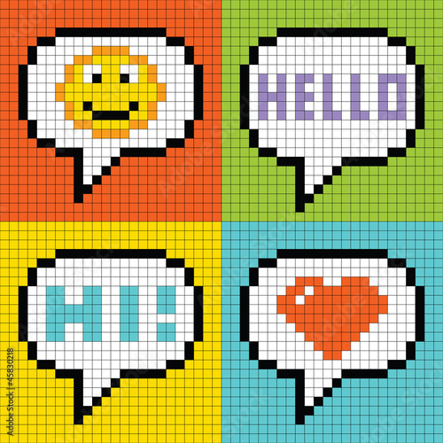 In de dag Pixel Pixel Social Networking Speech Bubbles: Smiley, Hello, Hi, Love
