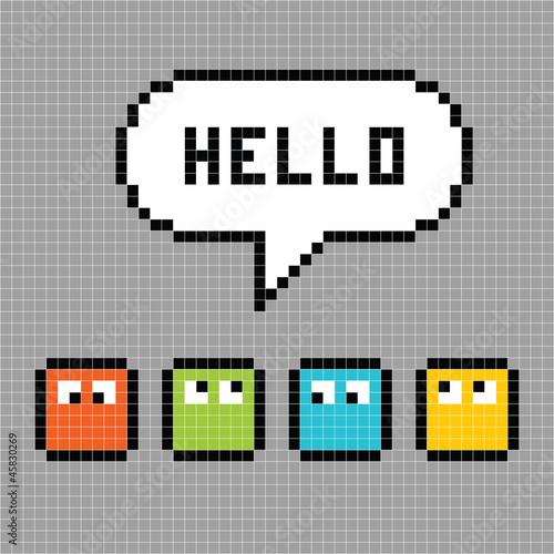 Foto op Aluminium Pixel Pixel Characters Say Hello