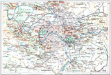Topographical Map of Paris, France, vintage engraving - 45831660