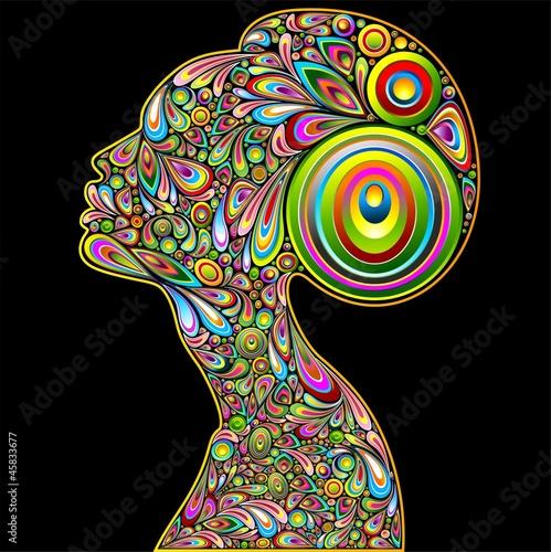 Foto op Canvas Bloemen vrouw Woman Psychedelic Art Portrait