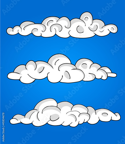 Tuinposter Hemel Cartoon Vector Clouds, blue sky