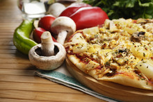 Pizza With Mushrooms And Pineapples