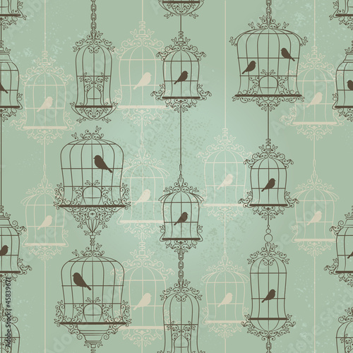 Poster Birds in cages Vintage birds and birdcages. Pattern. Wallpaper.