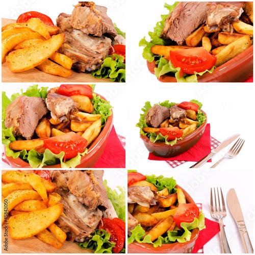Foto op Canvas Snack Pork meat and vegetables