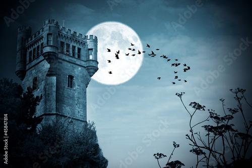 In de dag Volle maan halloween, castillo con luna, noche