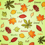 Light seamless pattern with autumn leaves