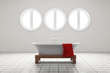 Bathroom With Circle Shaped Wi...