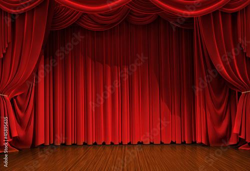 Fotografía  stage with open velvet curtain