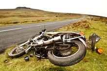Crashed Motorcycle Moorland Ro...