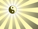 abstract rays background with yin yang symbol