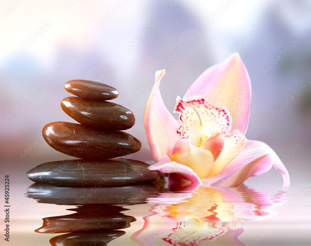 Plissee mit Motiv - Spa Zen Stones. Harmony Concept
