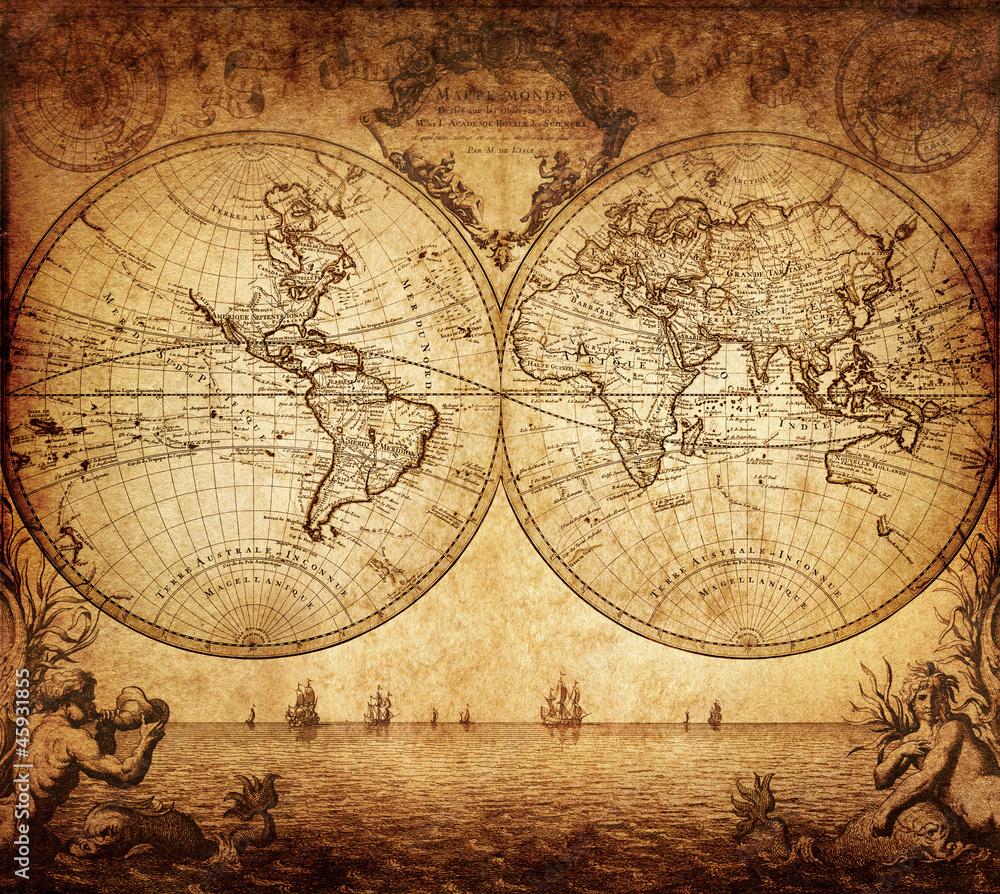 Fototapety, obrazy: vintage map of the world 1733