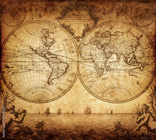Poster Retro vintage map of the world 1733