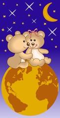 Plišani medvjedići zaljubljeni pod svemir