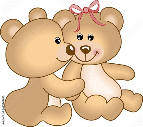 Fotobehang Beren Teddy bears in love