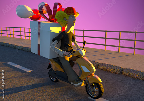 Poster Motocyclette delivery service - friendly guy delivers present -